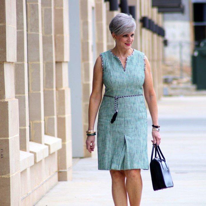 karl lagerfeld tweed dress, gucci black pumps, prada handbag