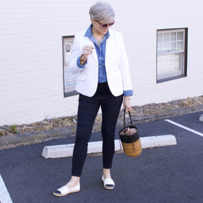 over 50 fashion blogger, ann taylor sailor denim, j.crew denim shirt, talbots white pique blazer, tory burch espadrilles, wicker bucket bag