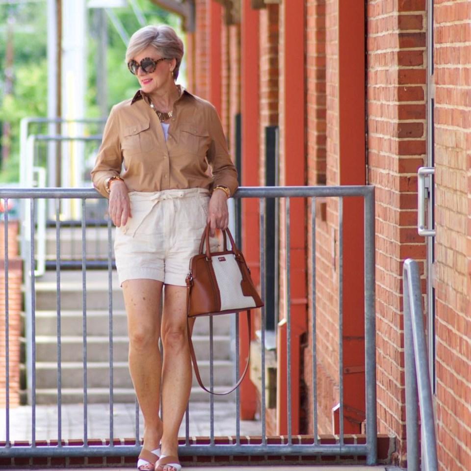 vince drawstring shorts, ralph lauren utility shirt, madewell tank