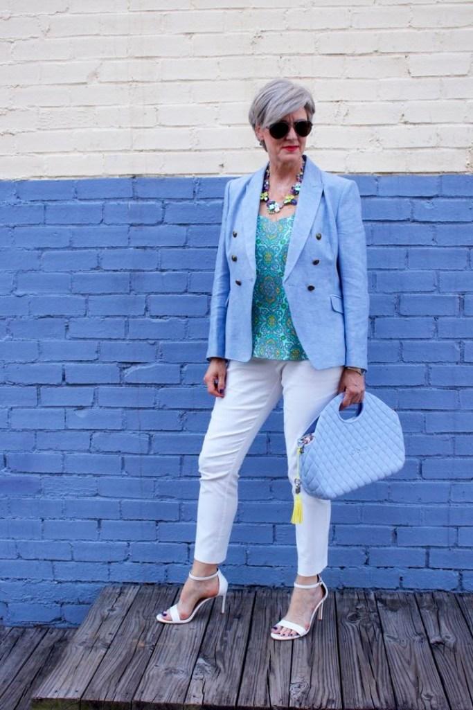 paisley top, linen blazer, white pants