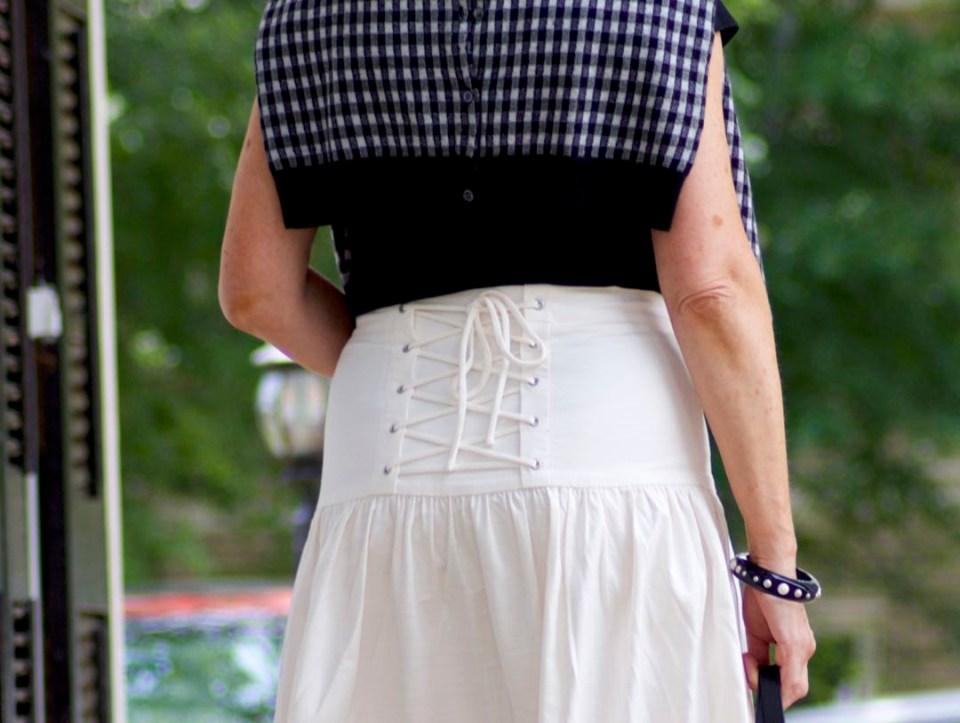 ann taylor skirt, black tee, gingham sandals, marc jacobs tote, j.crew cardigan