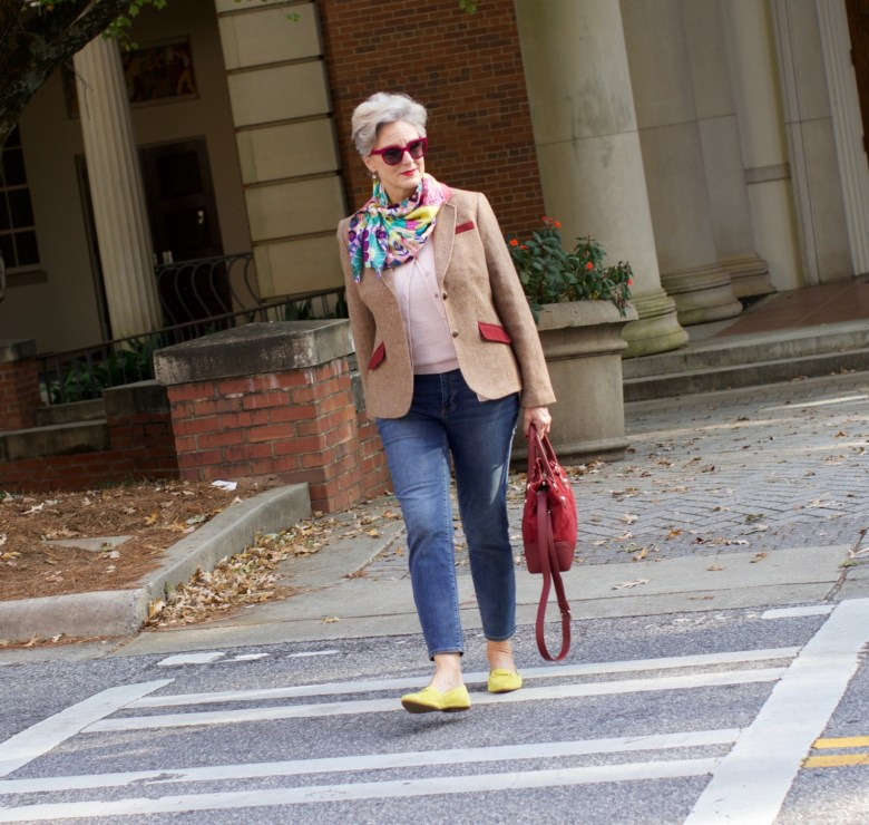 Talbots cardigan, silk scarf, leopard shoes