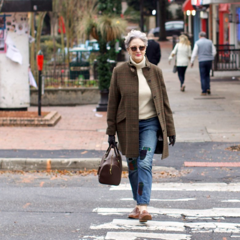 beth from Style at a Certain Age wears Ralph Lauren distressed jeans, Talbots cashmere turtleneck, J.Crew brown loafers, and Ralph Lauren glen plaid coat