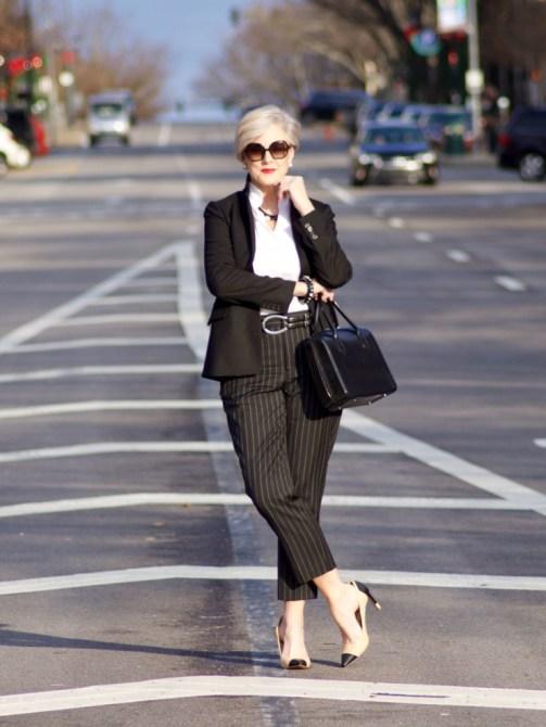 beth from Style at a Certain Age wears Ralph Lauren pinstripe pants, Misook white blouse, J.Crew black blazer, cap toe pumps and black handbag