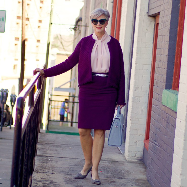 beth from Style at a Certain Age wears Ann Taylor ponte skirt, knot neck blouse, stitched fringe sweater