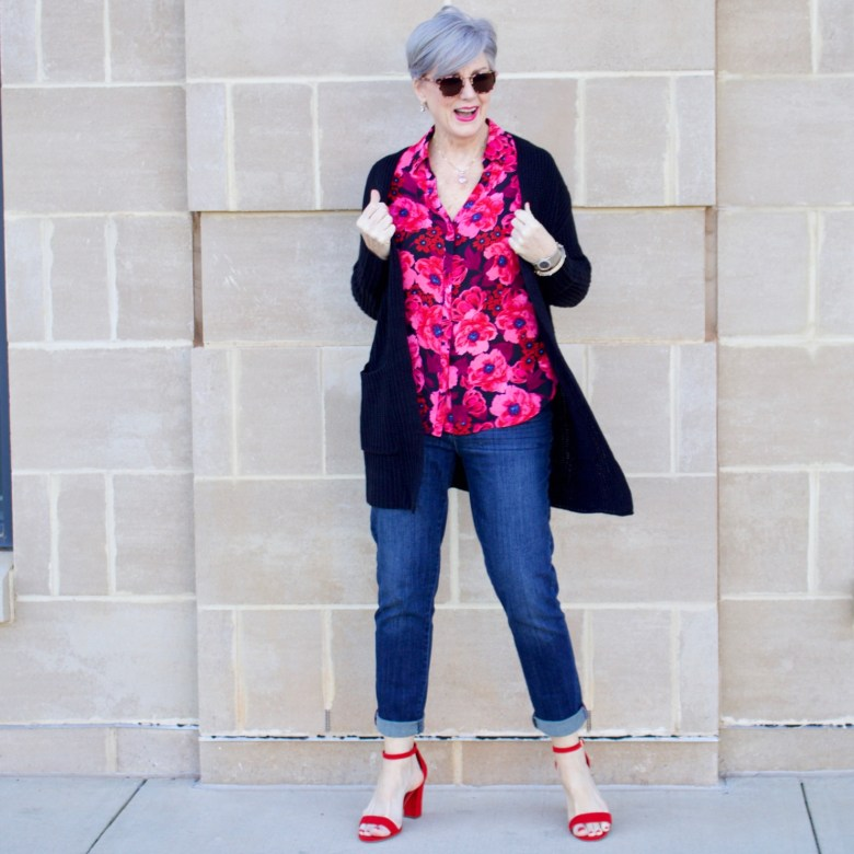 beth from Style at a Certain Age wears a floral blouse from the Love Now Wear Now collection from JCP