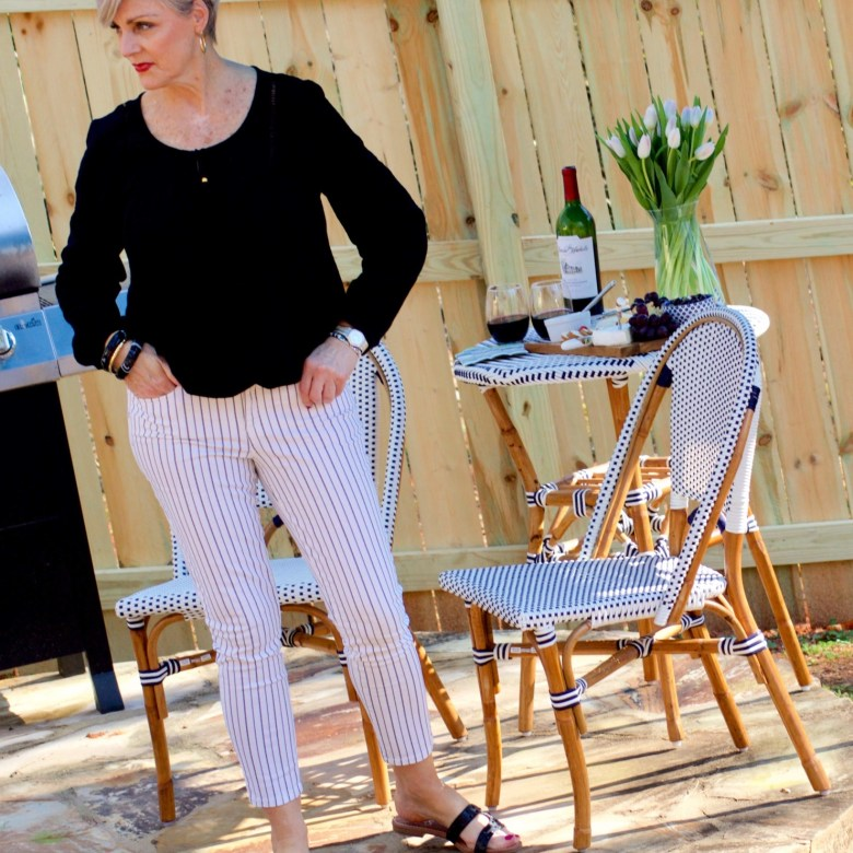 beth from Style at a Certain Age wears clothes from Walmart.com, Sofia peasant blouse and striped jeans