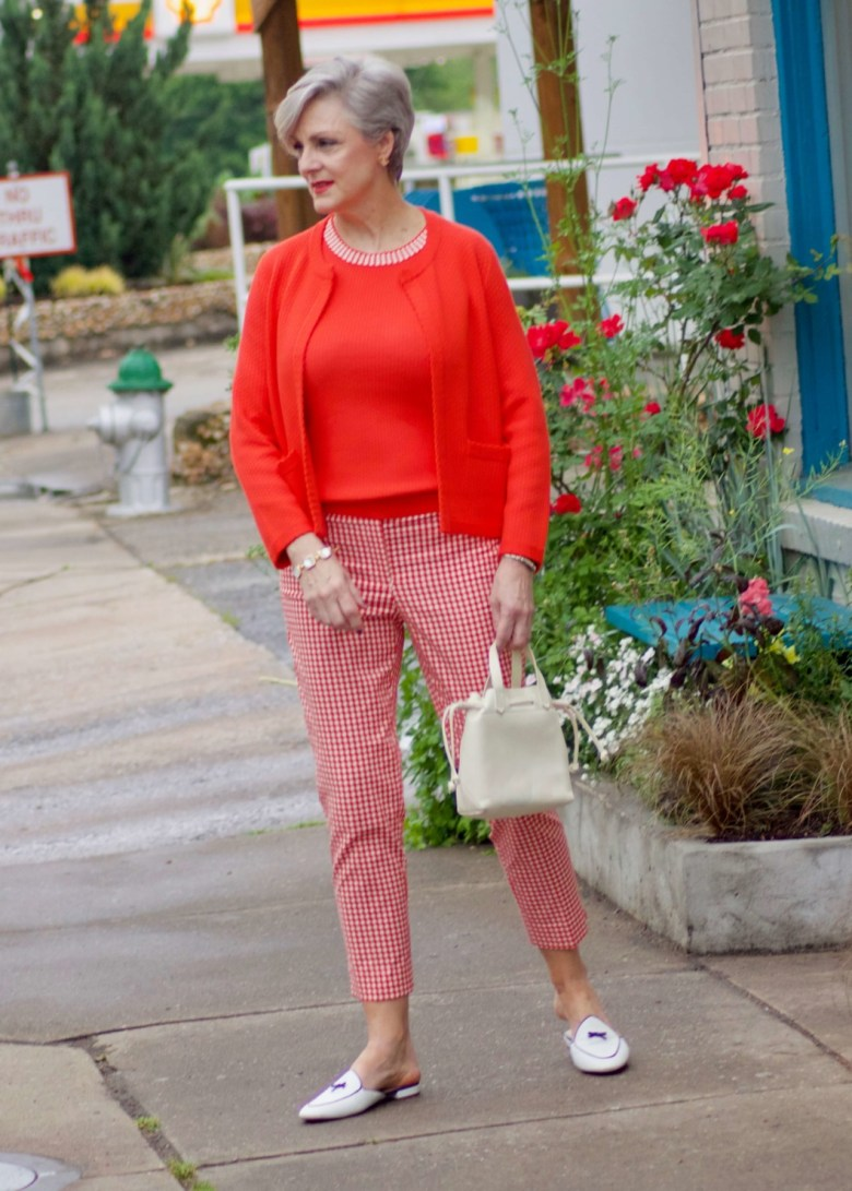 beth from Style at a Certain Age wears Ann Taylor gingham cropped pants, textured shell and cardigan