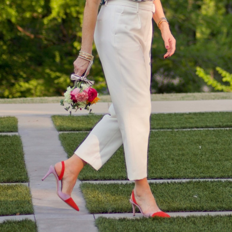 beth from Style at a Certain Age wears Ann Taylor pleated pants and suede slingbacks