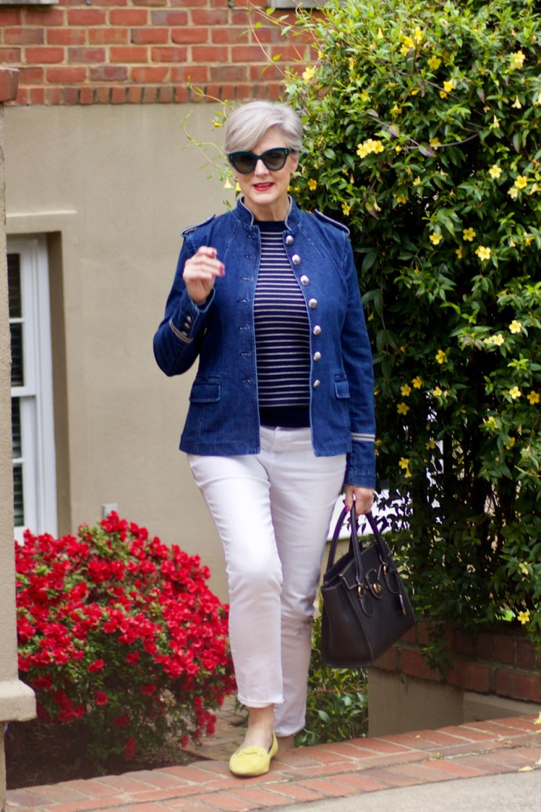 beth from Style at a Certain Age wears a Banana Republic stripe sweater, white denim and a jean jacket
