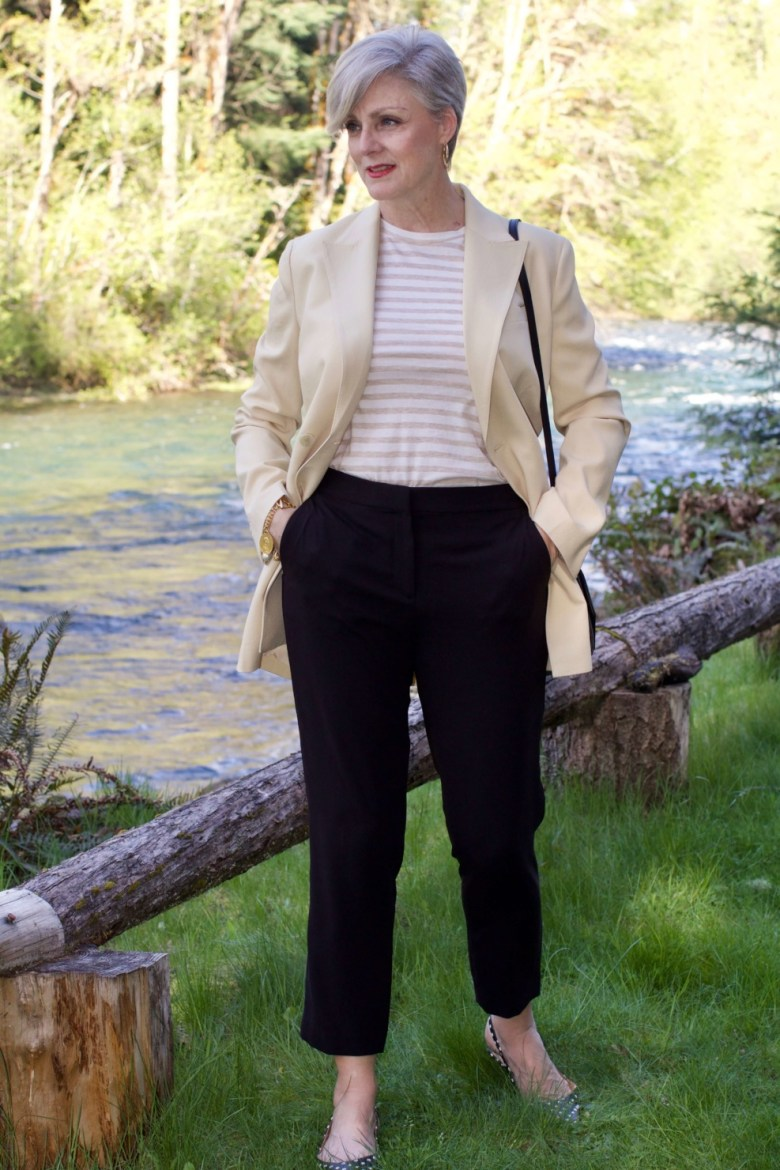 beth from Style at a Certain Age what i wore to the rehearsal dinner Theory blazer, Theory black pants, Vince striped tee, polka dot slingbacks