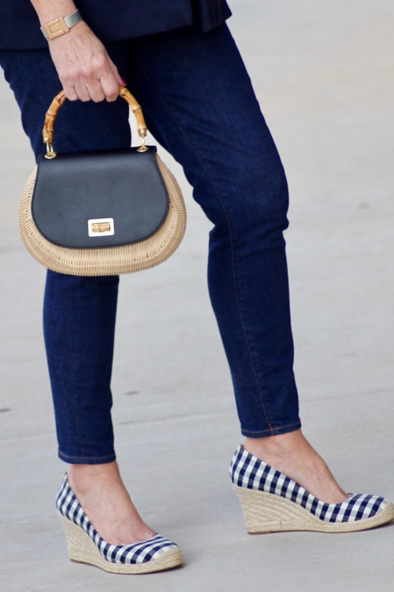 wicker handbag and espadrilles