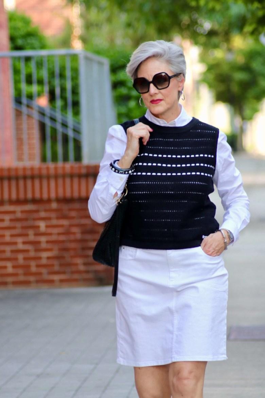 white denim skirt, white poplin shirt and slingback shoes