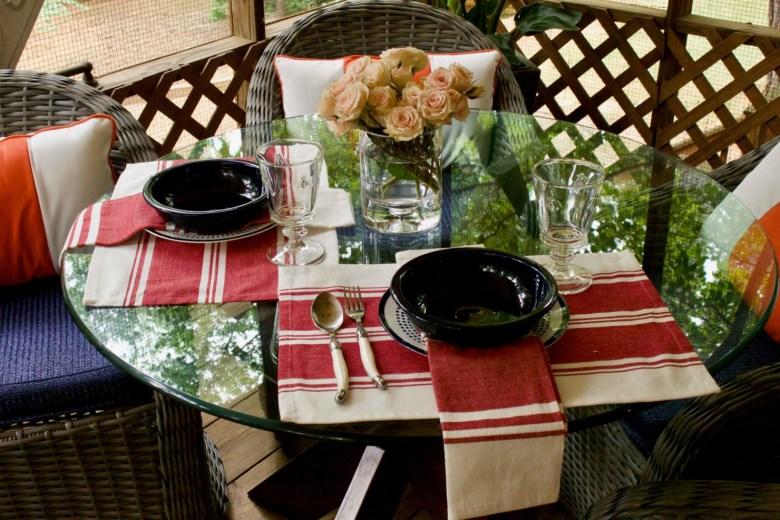 fiesta pasta bowls, napoleonic bee glassware, laguiole flatware