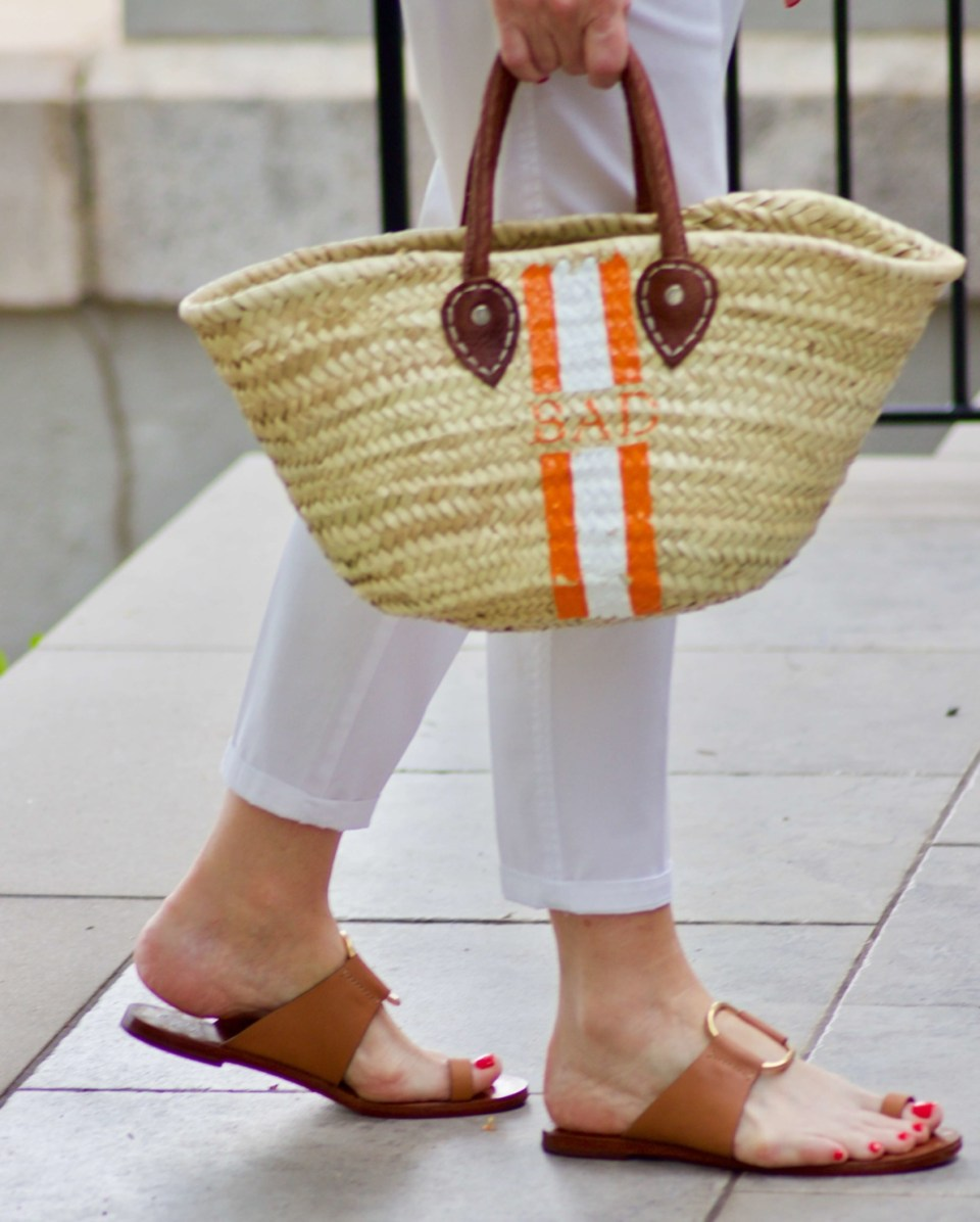 straw tote brown sandals