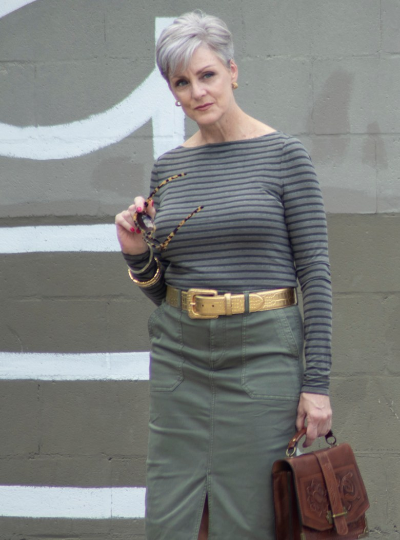 green skirt, striped green tee