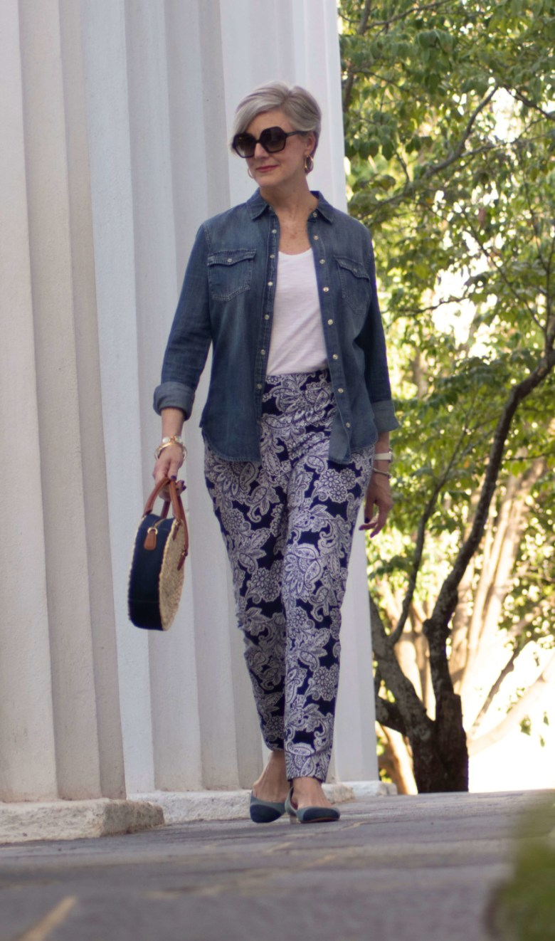 paisley pants, white tee, denim shirt, and ballet flats