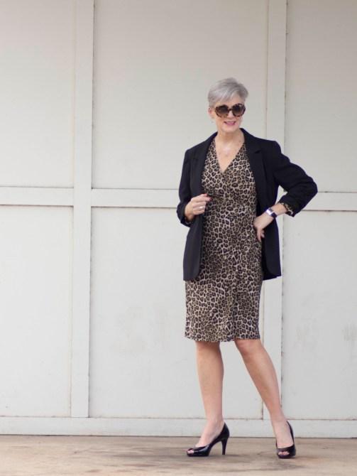 leopard dress & black blazer