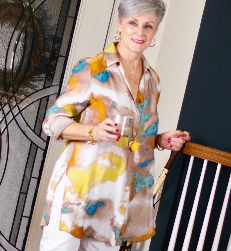 salty dog, watercolor tunic, white denim and gingham slingbacks