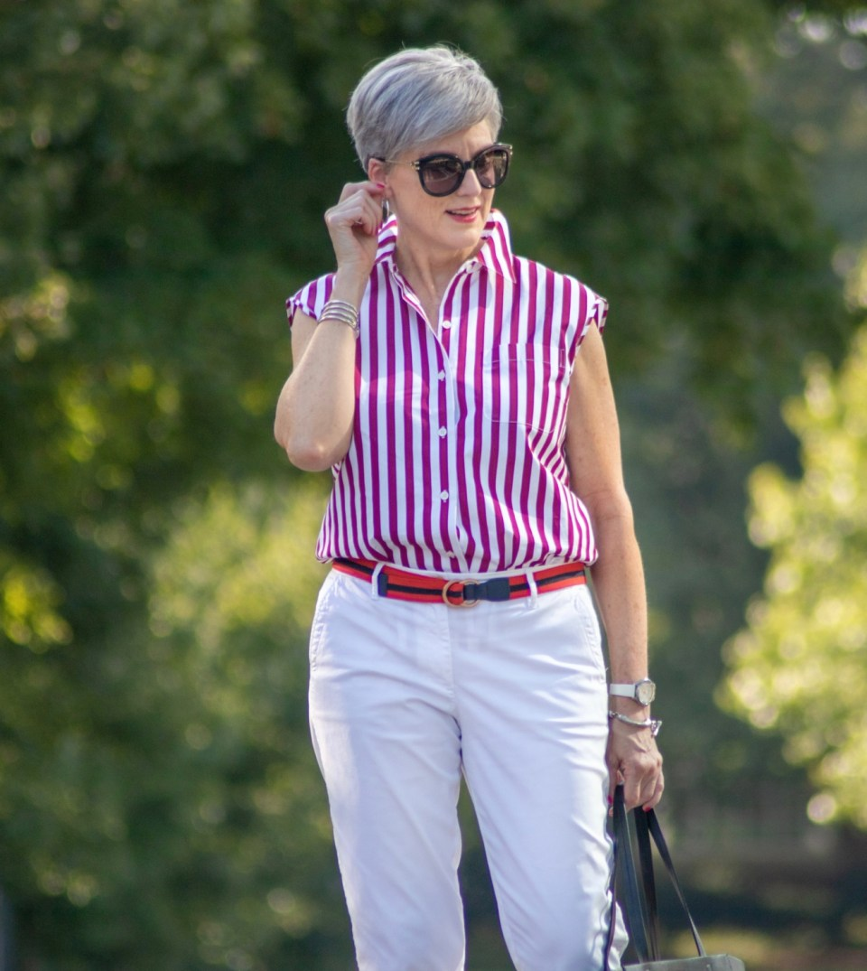 striped top and white chinos