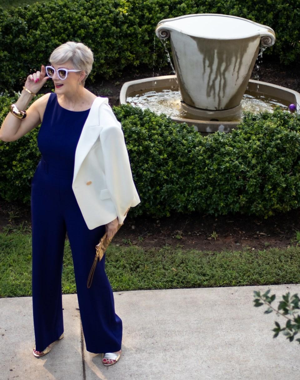 blue jumpsuit and white blazer