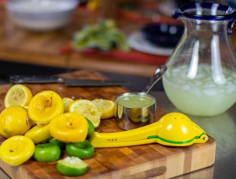 margaritas with fresh lemons and limes