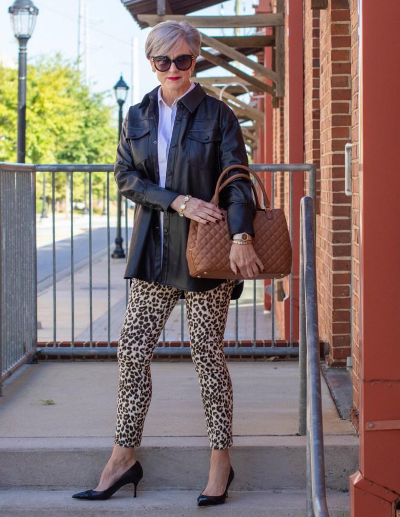 leather jacket, animal print leggings
