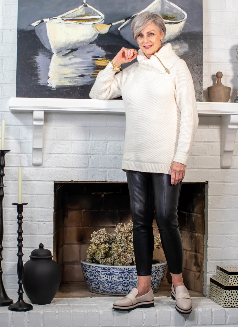 faux leather leggings and chunky sweater