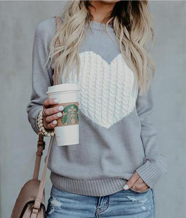 Casual Crop Sweater Slim Knitted Jumpers Love Heart Jumper