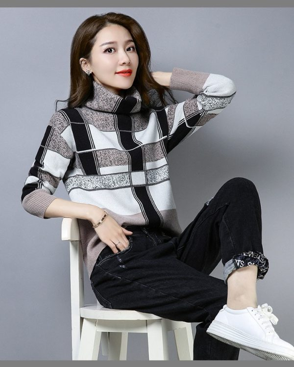 Winter New Turtleneck High Collar Large Size Loose Long Sleeve Sweater