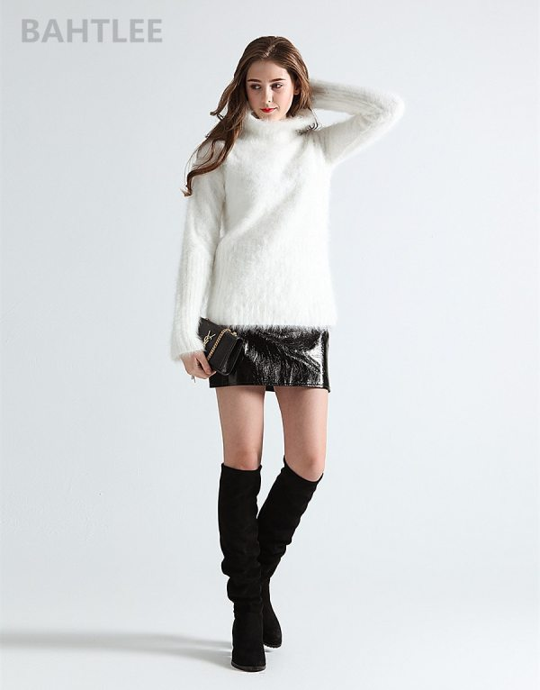 Women's Angora Rabbit Turtleneck Pullovers Knitting Sweater