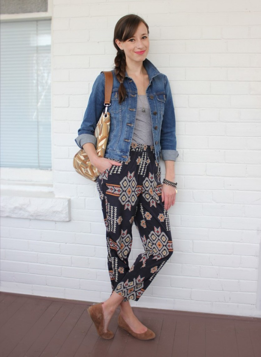Girl in tribal pants, jean jacket and flat shoes