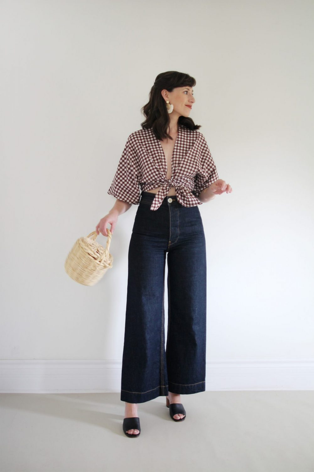 Style Bee - August Outfits - Look 7 - Gingham Tie Top + Dark Wide Leg Pants + Minimal Block Heel Shoes + Birkin Basket Bag + Raffia Earrings