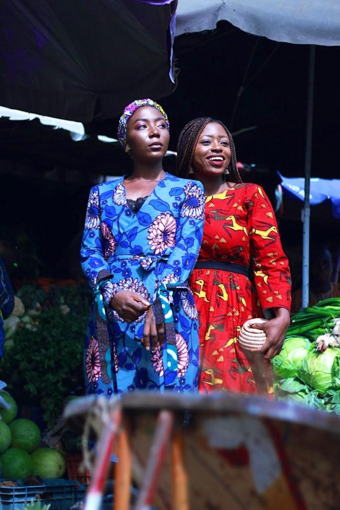 Vanessa Ohaha and Sarah Audu in Ankara in a Nigerian Market