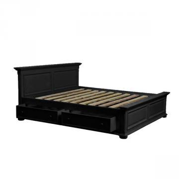 lit 160 x 200 avec tiroirs en bois noir