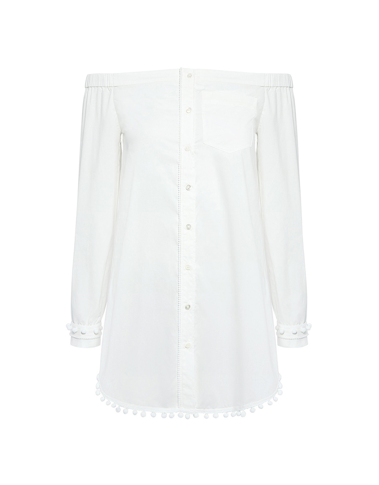 Derek Lam Off the Shoulder Pom Pom Tunic