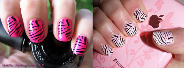 Zebra Print Nails How To Do At Home
