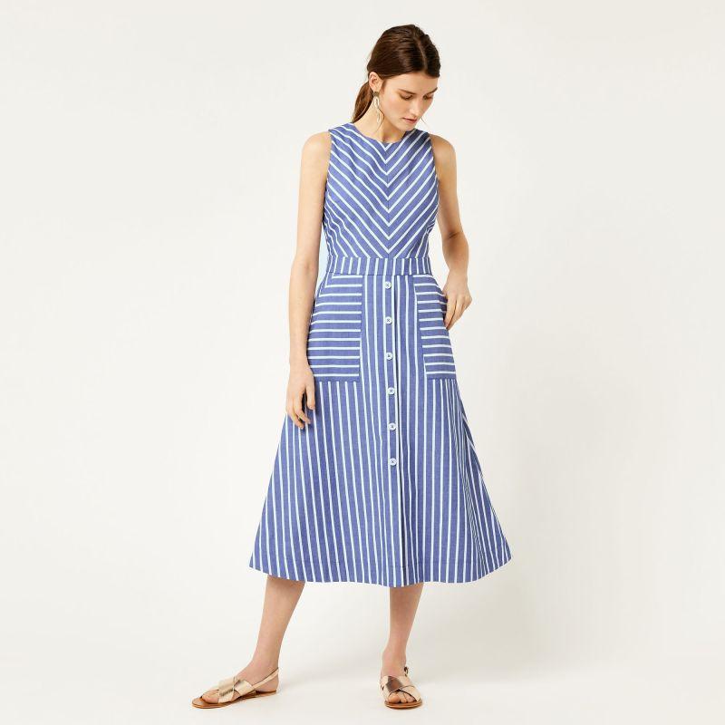 blue and white striped midi dress warehouse