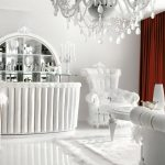 Luxurious White Living Room Interior With Red Curtains