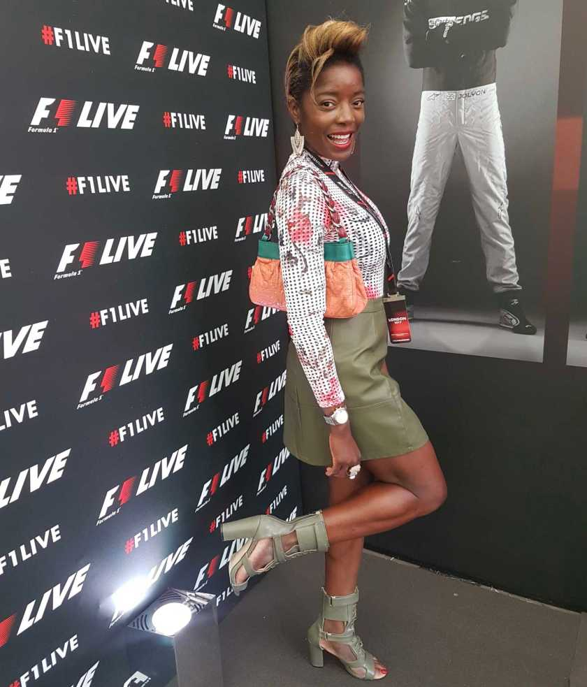 Style Icon Nat wearing Frankie Ankle Boots in Khaki - F1 Live London