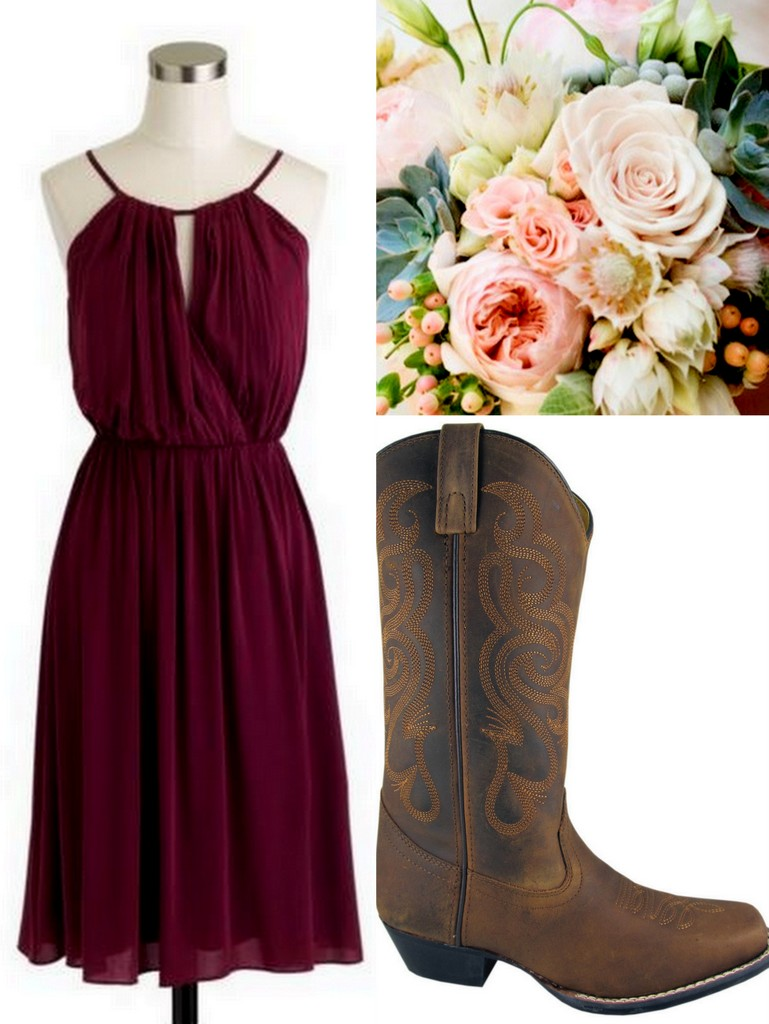 Cowboy Dress Boots Bridesmaid Brown Cute