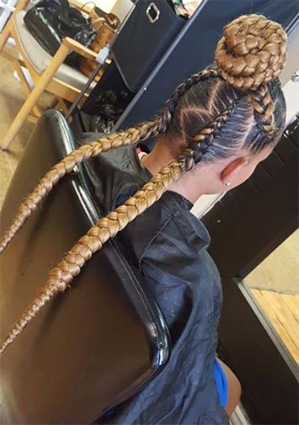 High braid bun feed in braid hairstyles. - 24040418 feed in braids 1 1 - Ladies: Choose From These Gorgeous Feed in Braid Hairstyles for your New Look