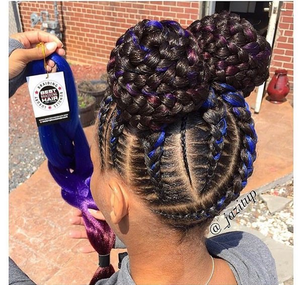 Double braided bun feed in braid hairstyles. - 29040418 feed in braids 1 1 - Ladies: Choose From These Gorgeous Feed in Braid Hairstyles for your New Look