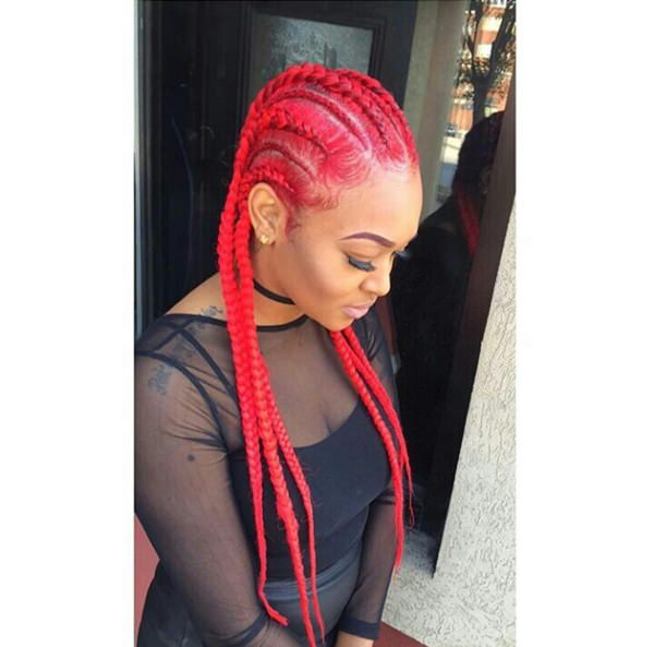 bright red braid style feed in braid hairstyles. - 46040418 feed in braids - Ladies: Choose From These Gorgeous Feed in Braid Hairstyles for your New Look