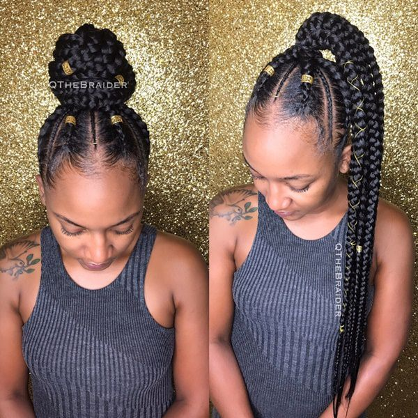 Golden braided designs feed in braid hairstyles. - 57040418 feed in braids - Ladies: Choose From These Gorgeous Feed in Braid Hairstyles for your New Look