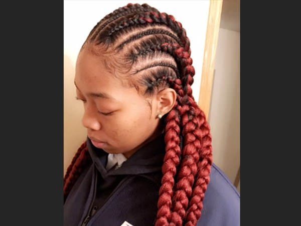 Red braided styles feed in braid hairstyles. - 74040418 feed in braids 1 1 - Ladies: Choose From These Gorgeous Feed in Braid Hairstyles for your New Look