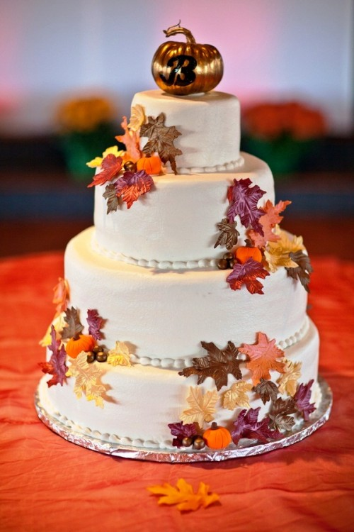 24 Great Ideas for Fall Wedding Cake Decoration   Style Motivation 24 Great Ideas for Fall Wedding Cake Decoration
