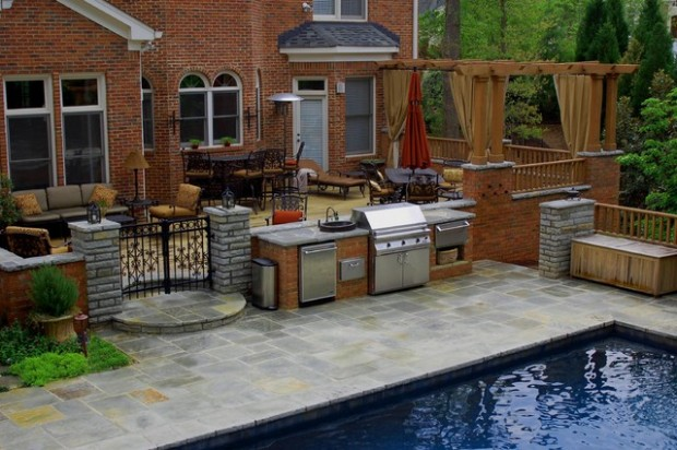 18 Amazing Patio Design Ideas with Outdoor Barbecue on Patio Grilling Area  id=26105