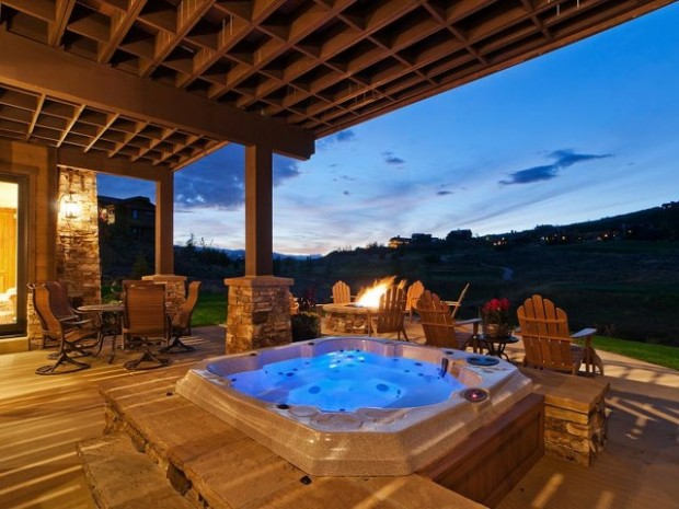 21 Landscaping Outdoor Living Spaces with Hot Tubs - Style ... on Outdoor Living Spa id=22596