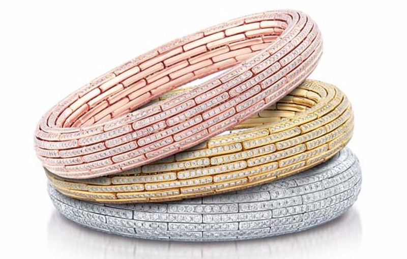 Tri-color Diamond Bangles, Nirav Modi Boutique